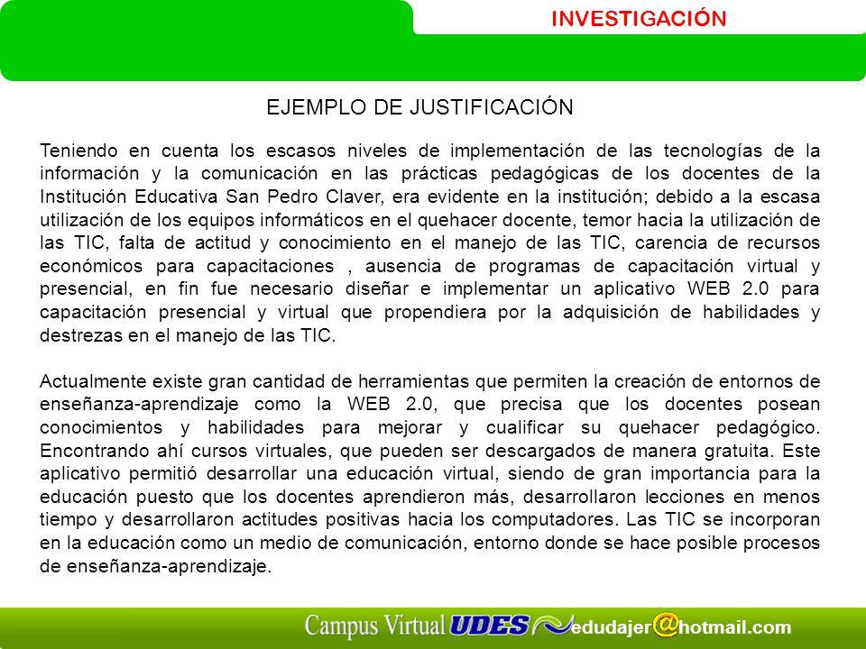 EJEMPLO DE JUSTIFICACIÓN