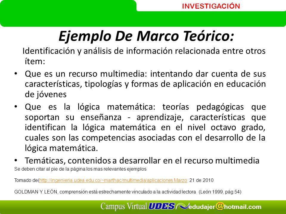Ejemplo De Marco Teórico:
