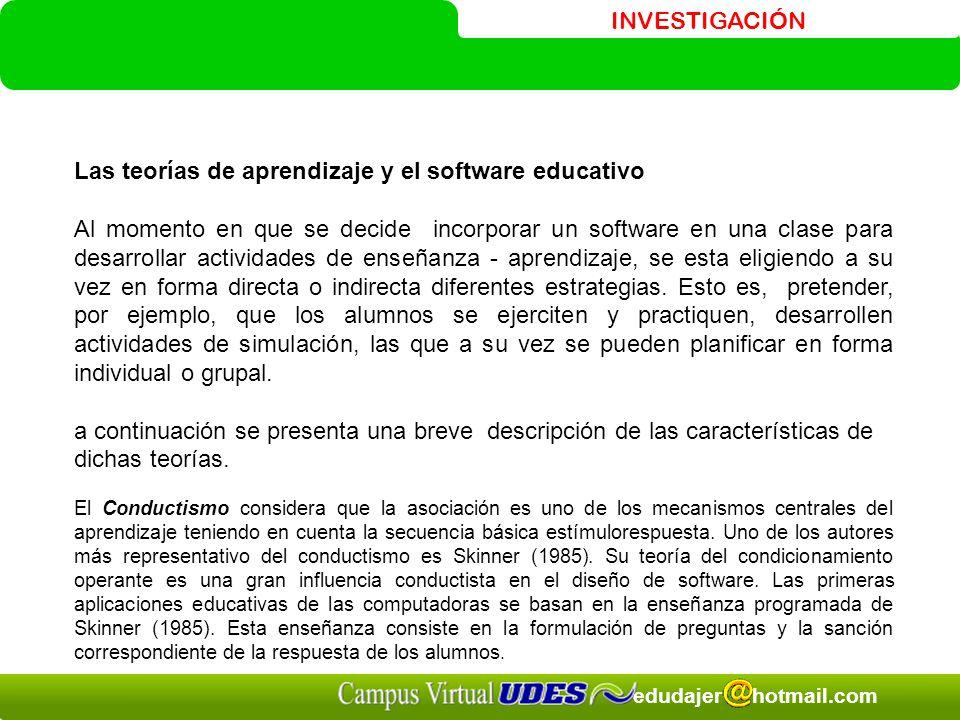 Las teorías de aprendizaje y el software educativo