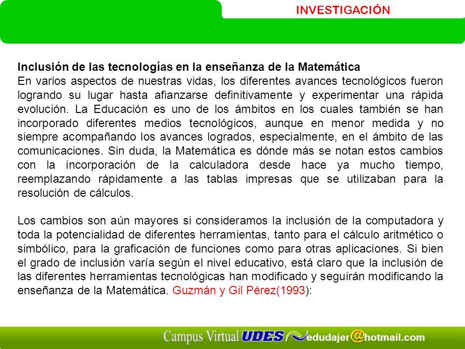 Inclusión de las tecnologías en la enseñanza de la Matemática