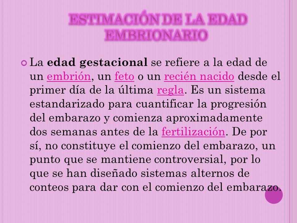 ESTIMACIÓN DE LA EDAD EMBRIONARIO