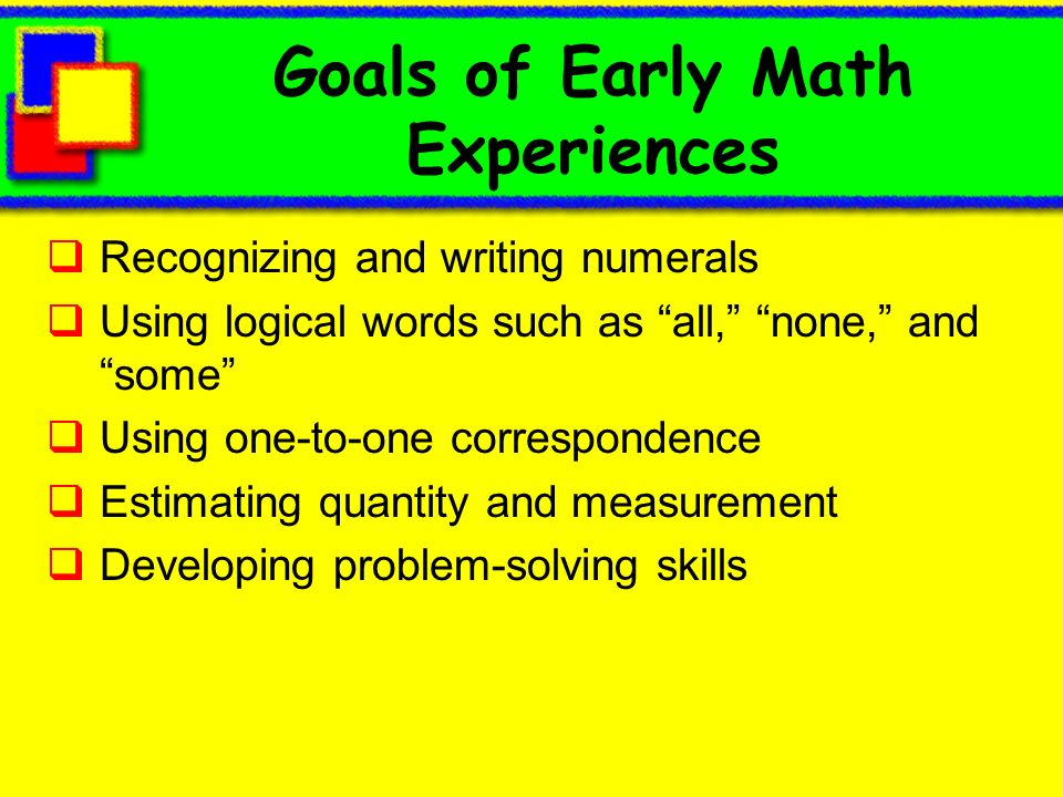 Goals of Early Math Experiences
