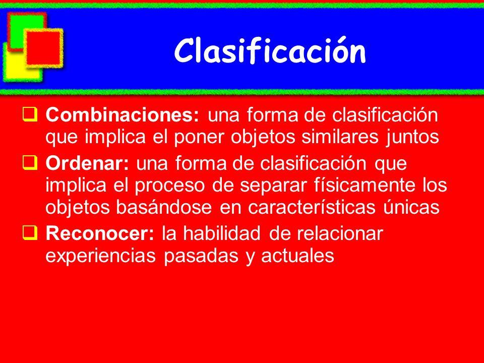 Clasificación Combinaciones: una forma de clasificación que implica el poner objetos similares juntos.
