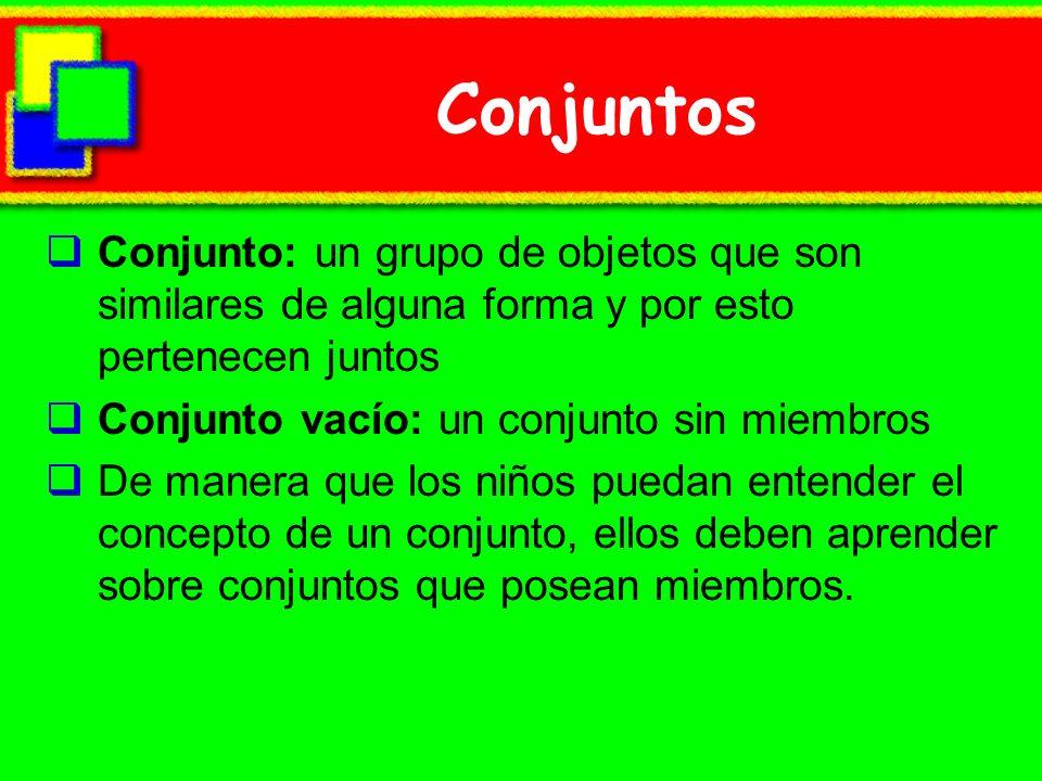 Conjuntos Conjunto: un grupo de objetos que son similares de alguna forma y por esto pertenecen juntos.