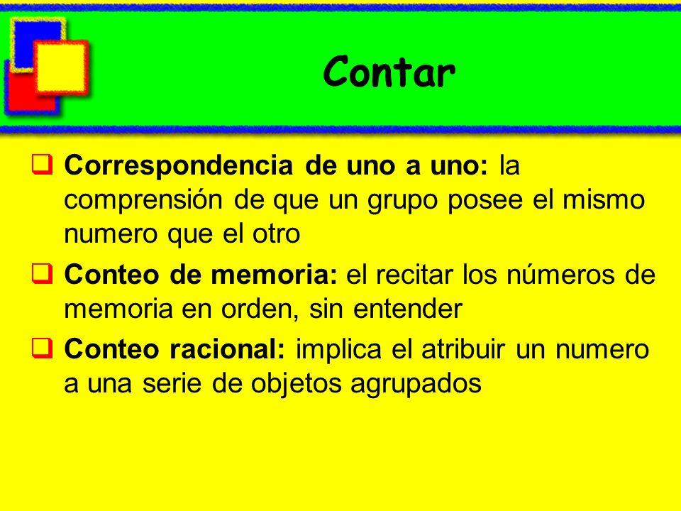 Contar Correspondencia de uno a uno: la comprensión de que un grupo posee el mismo numero que el otro.