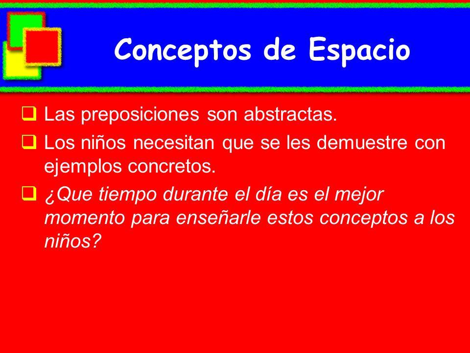 Conceptos de Espacio Las preposiciones son abstractas.