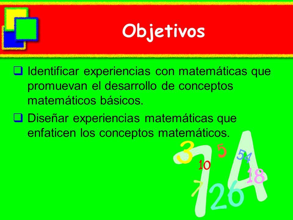Objetivos Identificar experiencias con matemáticas que promuevan el desarrollo de conceptos matemáticos básicos.