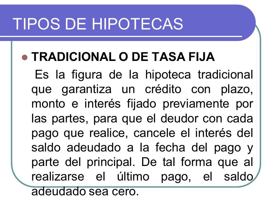TIPOS DE HIPOTECAS TRADICIONAL O DE TASA FIJA