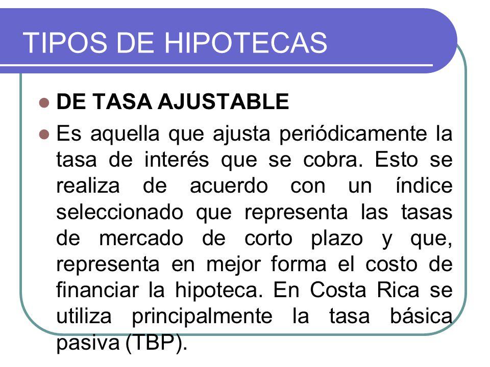TIPOS DE HIPOTECAS DE TASA AJUSTABLE