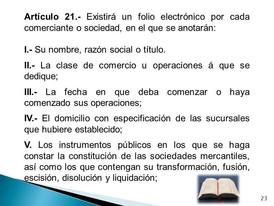 Artículo 21.- Existirá un folio electrónico por cada comerciante o sociedad, en el que se anotarán: