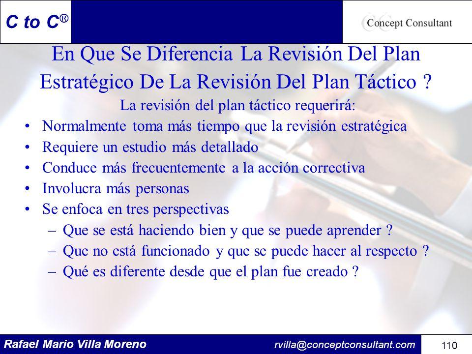 La revisión del plan táctico requerirá: