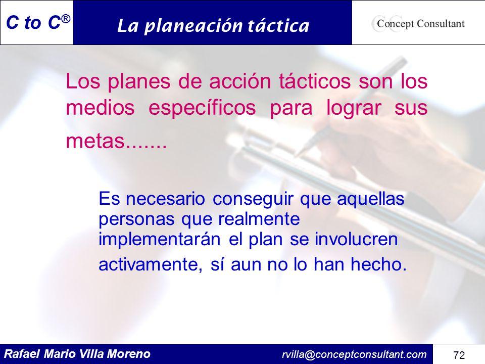 La planeación táctica Los planes de acción tácticos son los medios específicos para lograr sus metas.......