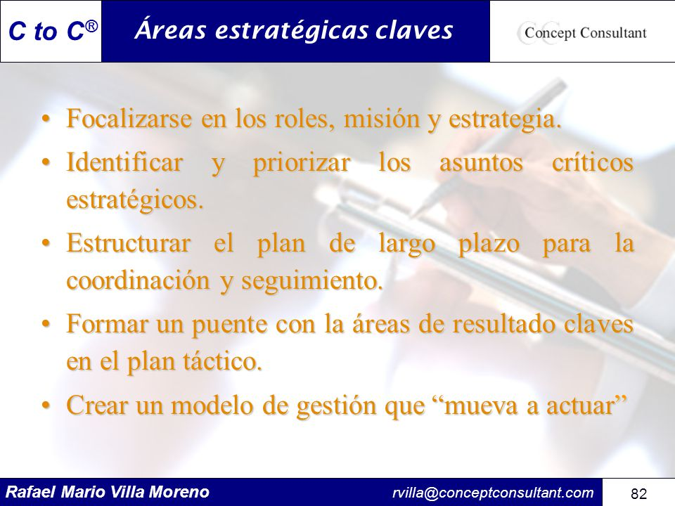 Áreas estratégicas claves