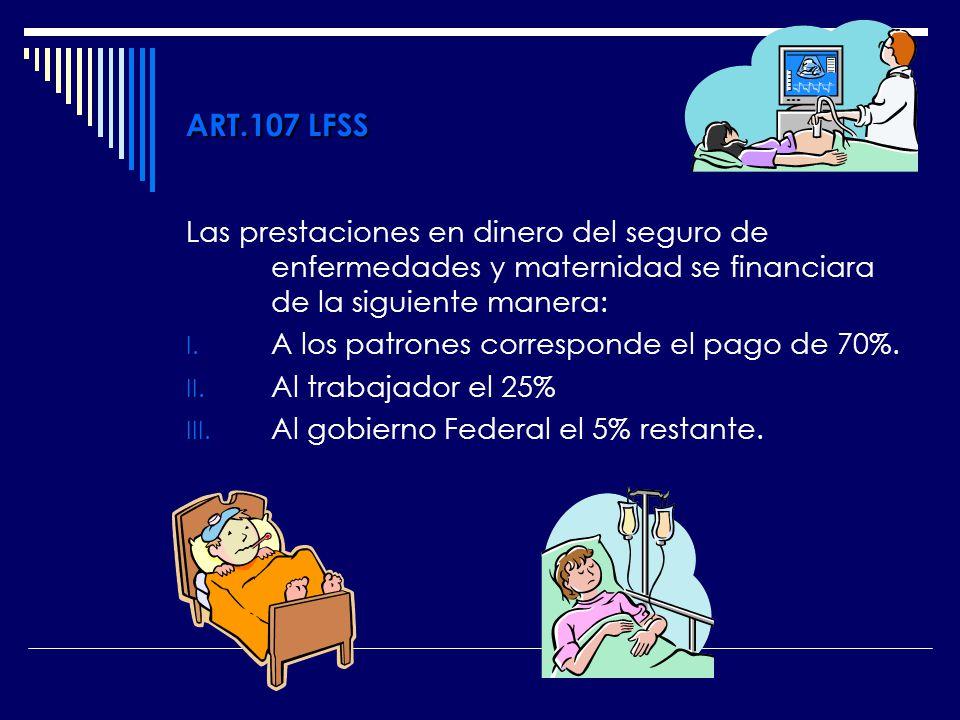ART.107 LFSS Las prestaciones en dinero del seguro de enfermedades y maternidad se financiara de la siguiente manera: