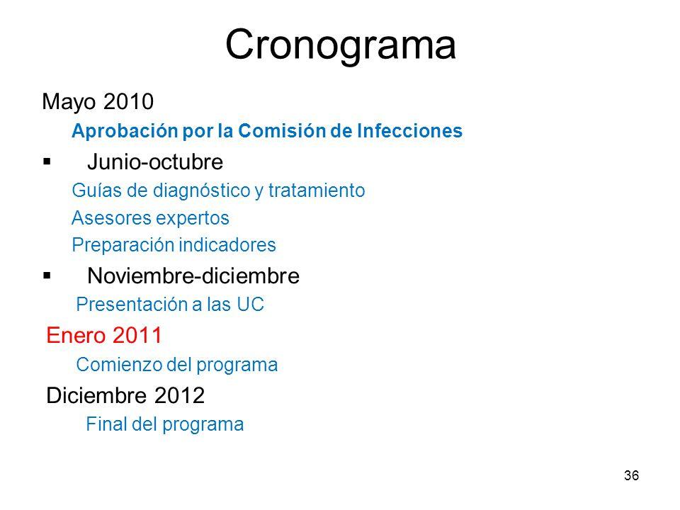 Cronograma Mayo 2010 Junio-octubre Noviembre-diciembre Enero 2011