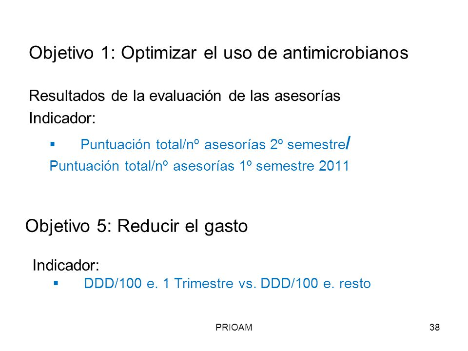 Objetivo 1: Optimizar el uso de antimicrobianos