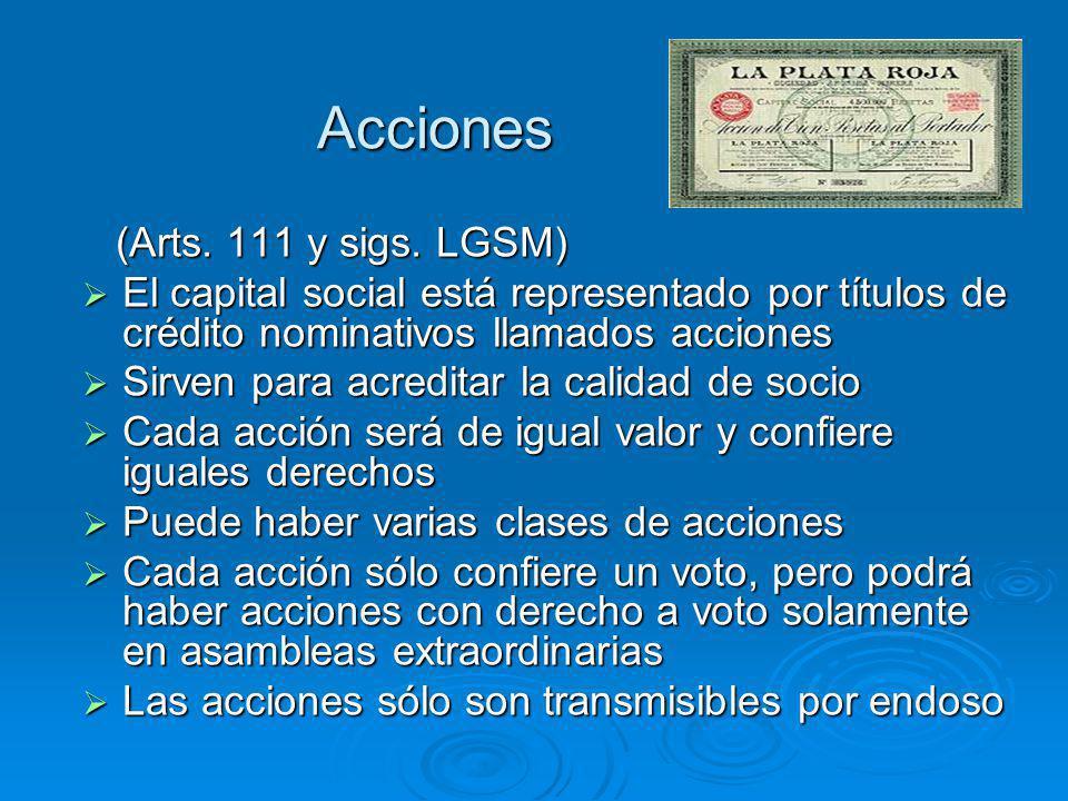 Acciones (Arts. 111 y sigs. LGSM) El capital social está representado por títulos de crédito nominativos llamados acciones.