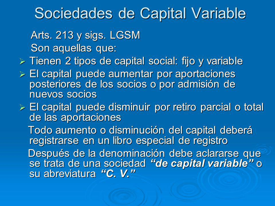 Sociedades de Capital Variable