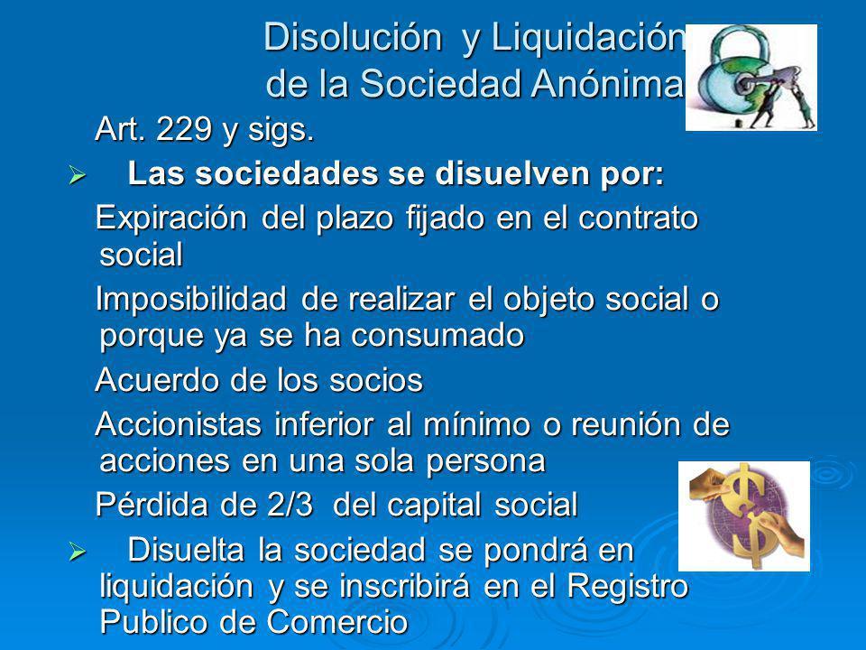 Disolución y Liquidación de la Sociedad Anónima