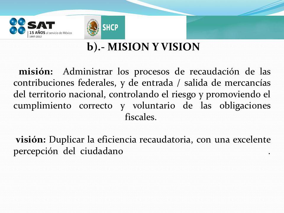 b).- MISION Y VISION