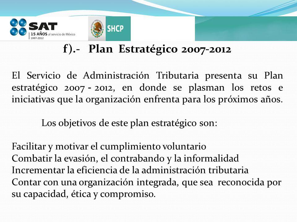 f).- Plan Estratégico 2007-2012