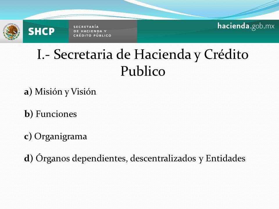 I.- Secretaria de Hacienda y Crédito Publico