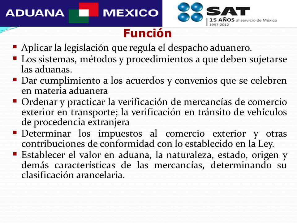 Función Aplicar la legislación que regula el despacho aduanero.