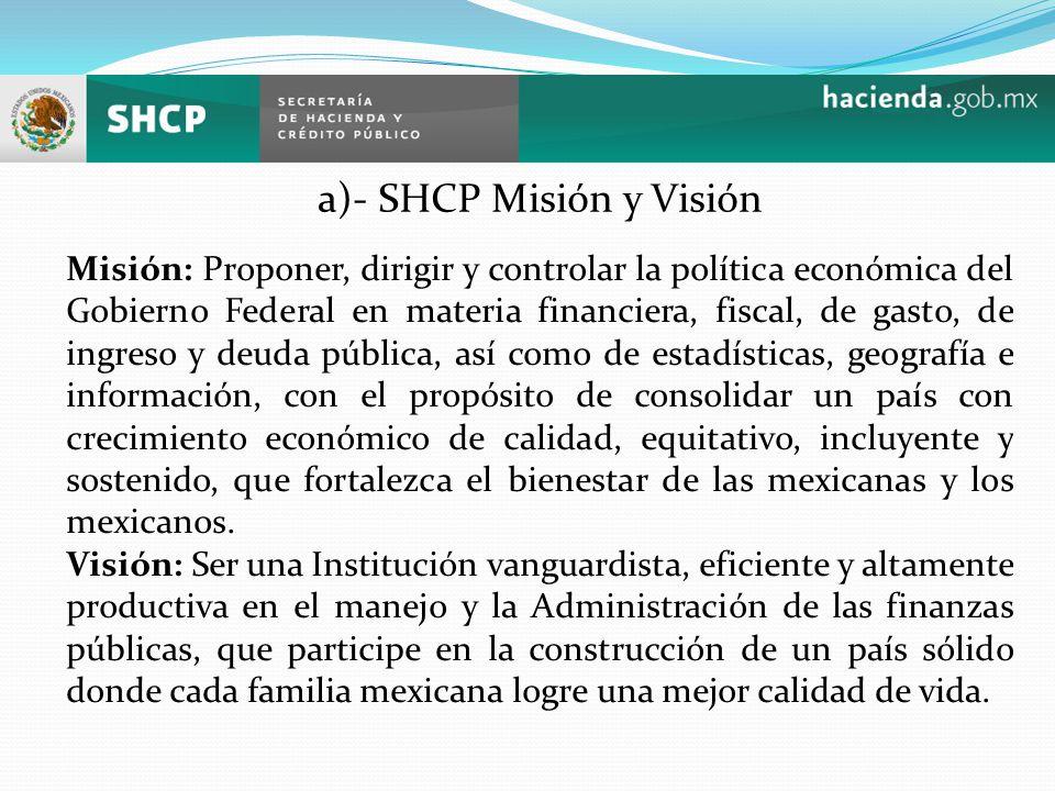 a)- SHCP Misión y Visión