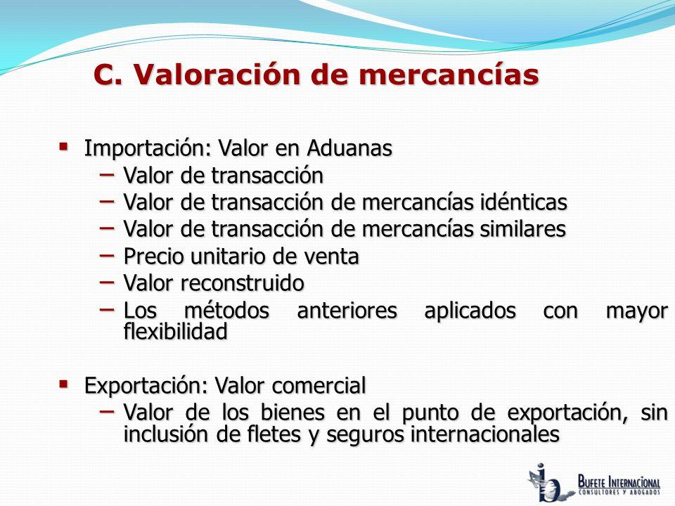 C. Valoración de mercancías