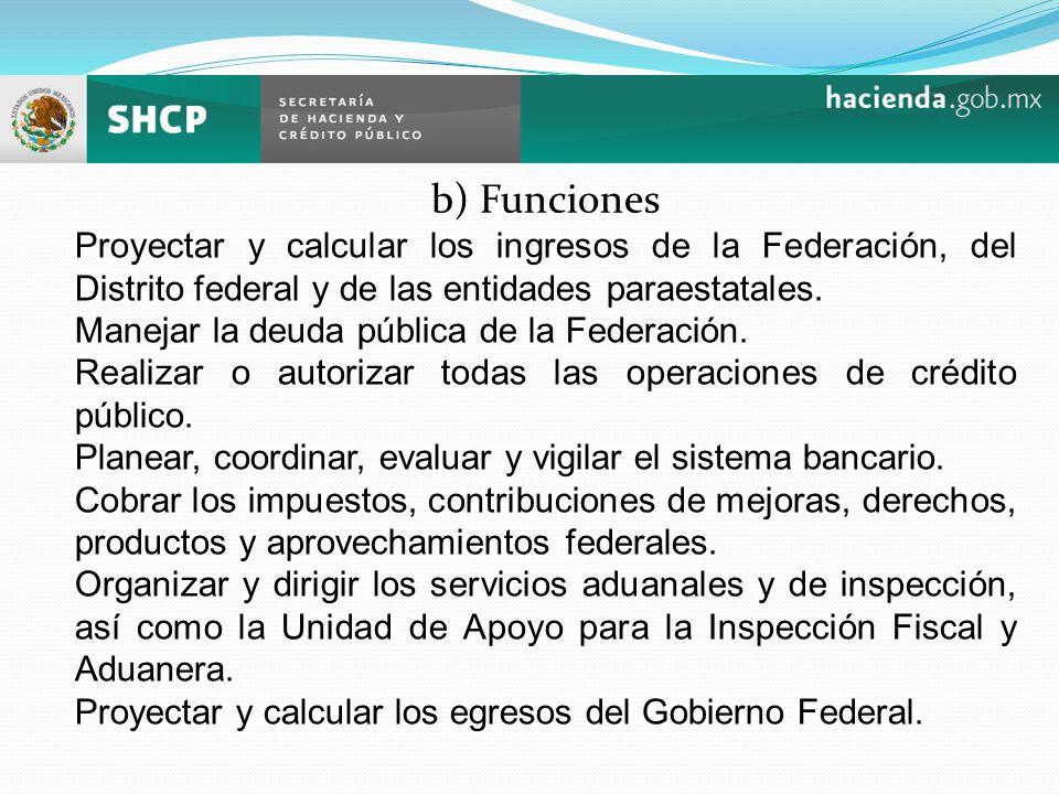b) Funciones Proyectar y calcular los ingresos de la Federación, del Distrito federal y de las entidades paraestatales.
