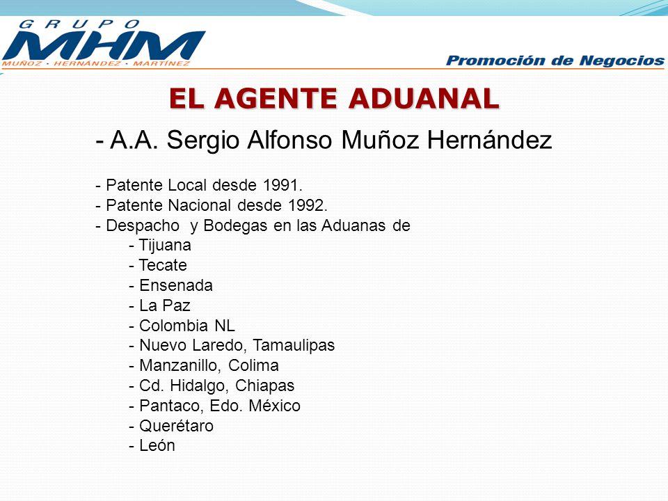 EL AGENTE ADUANAL A.A. Sergio Alfonso Muñoz Hernández