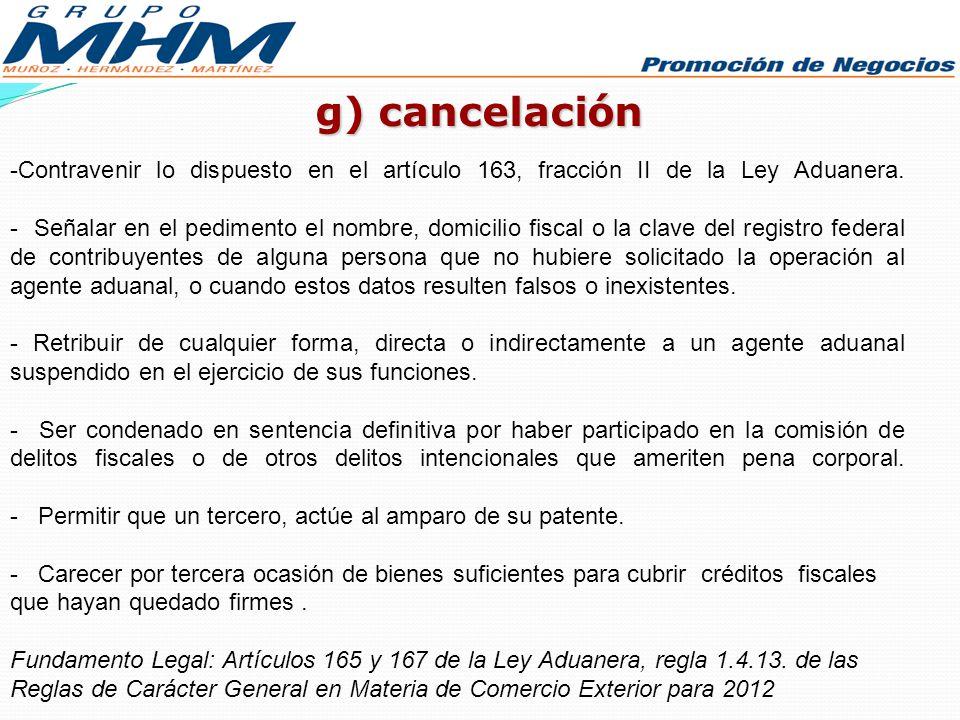 g) cancelación