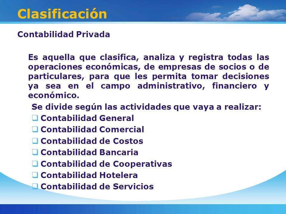 Clasificación Contabilidad Privada