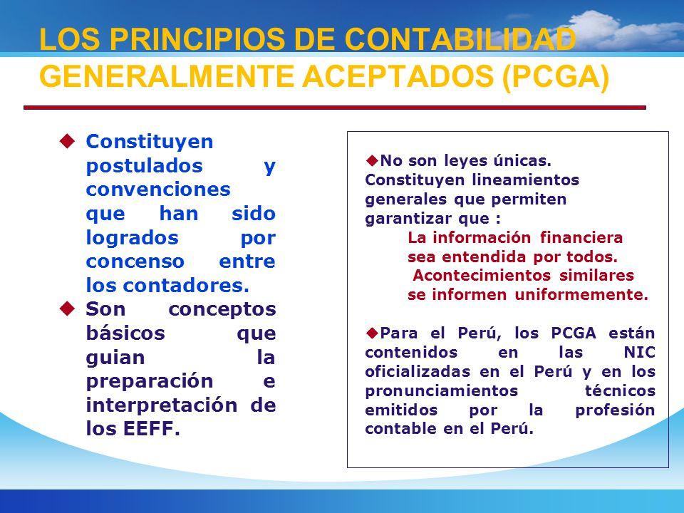 LOS PRINCIPIOS DE CONTABILIDAD GENERALMENTE ACEPTADOS (PCGA)
