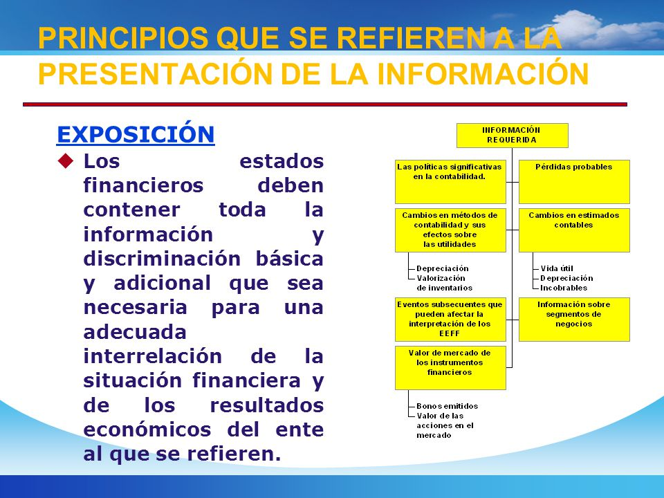 PRINCIPIOS QUE SE REFIEREN A LA PRESENTACIÓN DE LA INFORMACIÓN