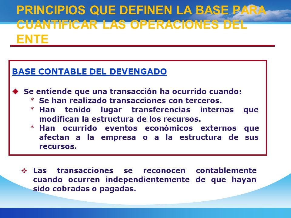 PRINCIPIOS QUE DEFINEN LA BASE PARA CUANTIFICAR LAS OPERACIONES DEL ENTE
