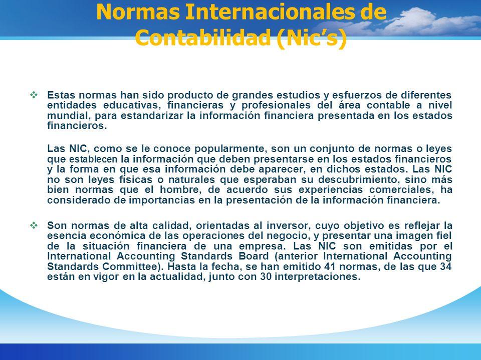 Normas Internacionales de Contabilidad (Nic's)
