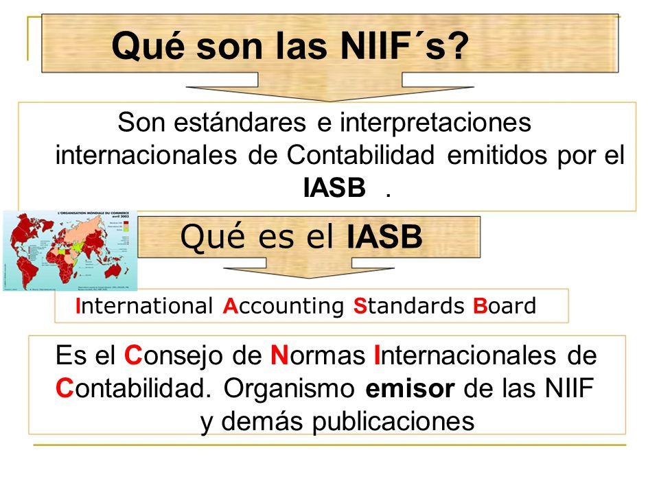 Qué son las NIIF´s Qué es el IASB Son estándares e interpretaciones
