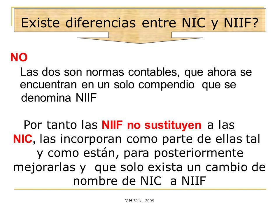 Existe diferencias entre NIC y NIIF