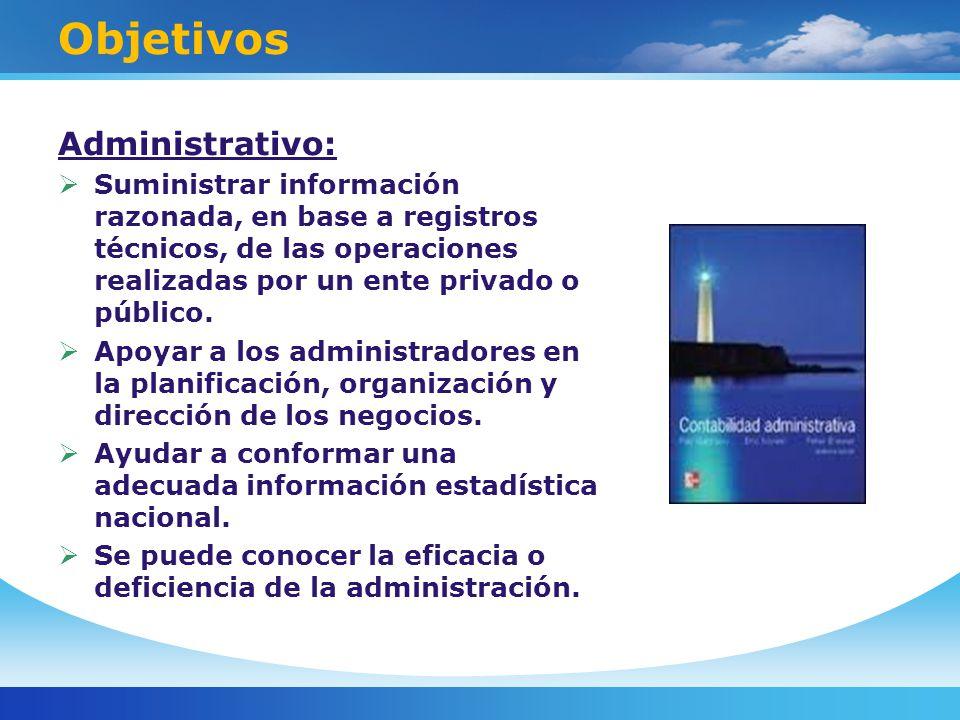 Objetivos Administrativo: