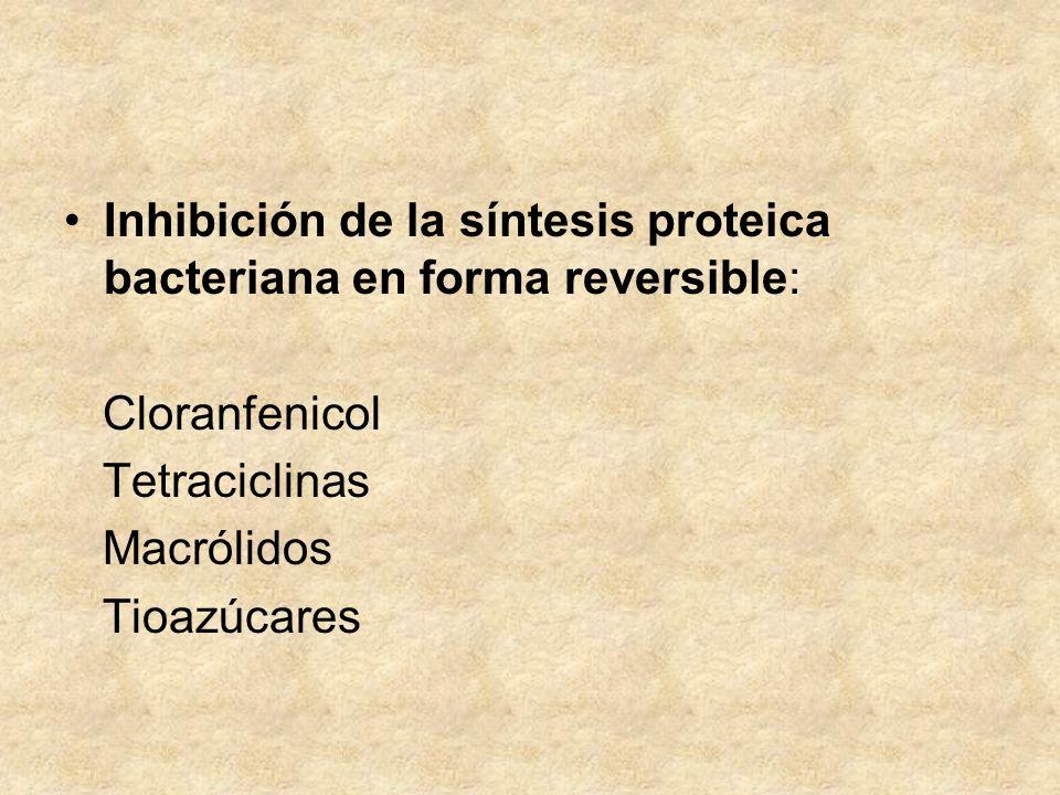 Inhibición de la síntesis proteica bacteriana en forma reversible: