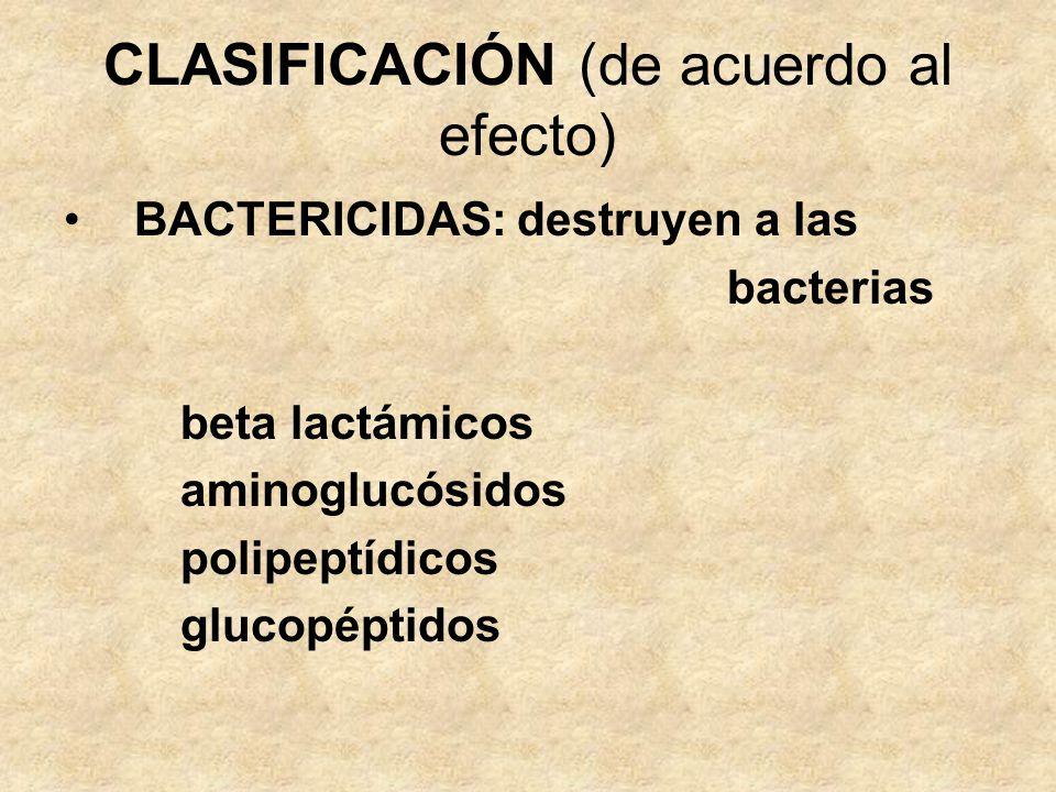 CLASIFICACIÓN (de acuerdo al efecto)