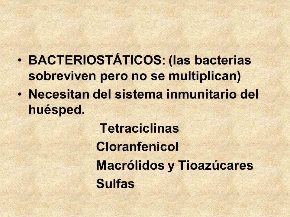 BACTERIOSTÁTICOS: (las bacterias sobreviven pero no se multiplican)