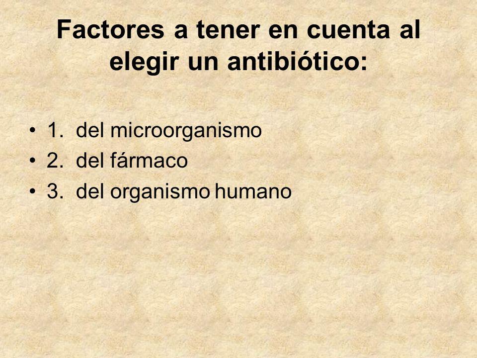 Factores a tener en cuenta al elegir un antibiótico: