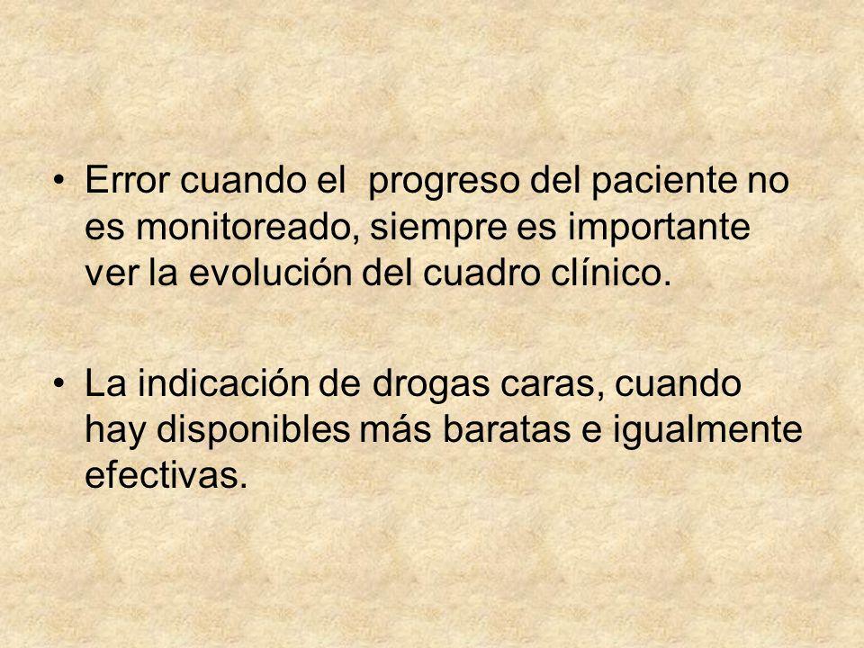 Error cuando el progreso del paciente no es monitoreado, siempre es importante ver la evolución del cuadro clínico.