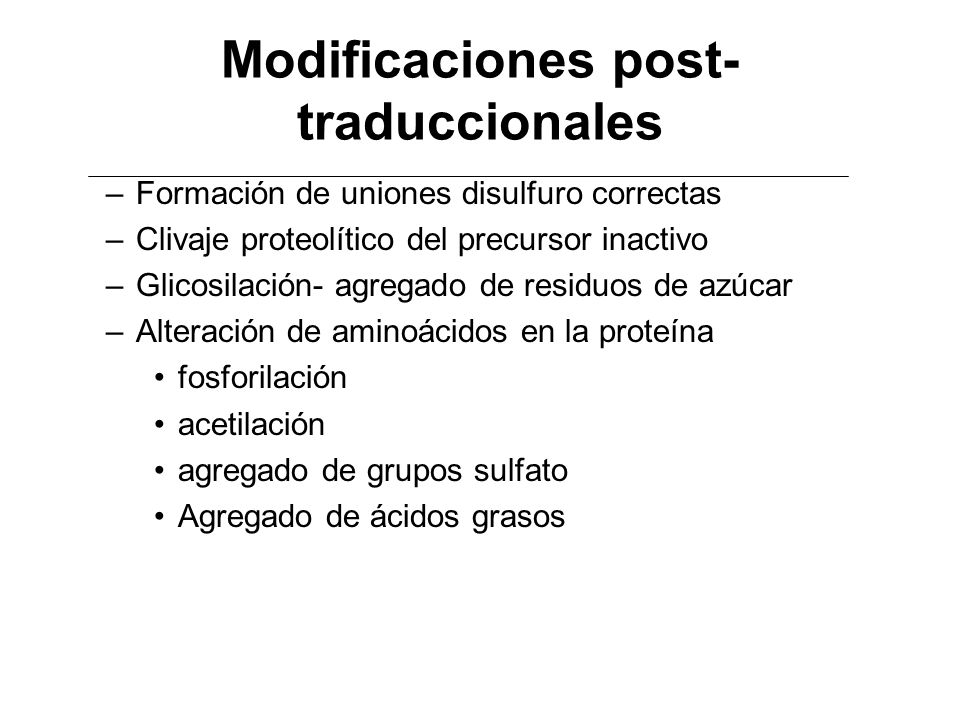 Modificaciones post-traduccionales