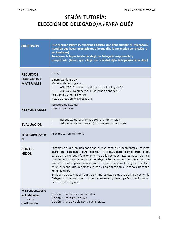 SESIÓN TUTORÍA: ELECCIÓN DE DELEGADO/A ¿PARA QUÉ
