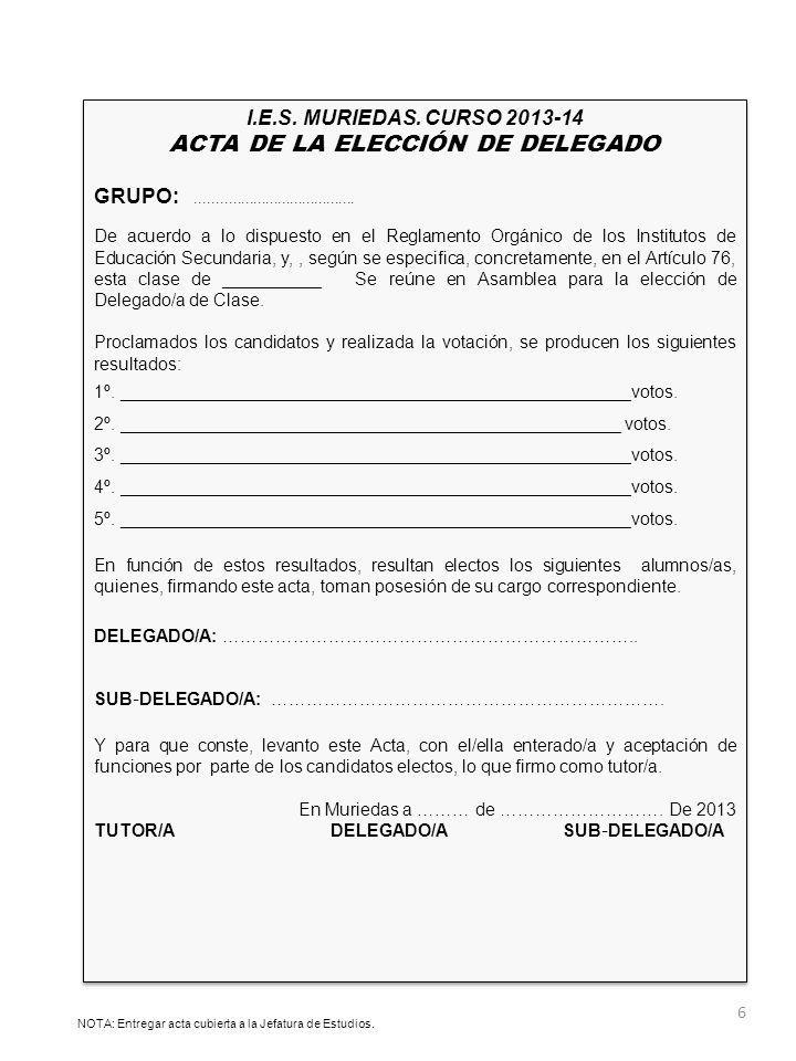 ACTA DE LA ELECCIÓN DE DELEGADO