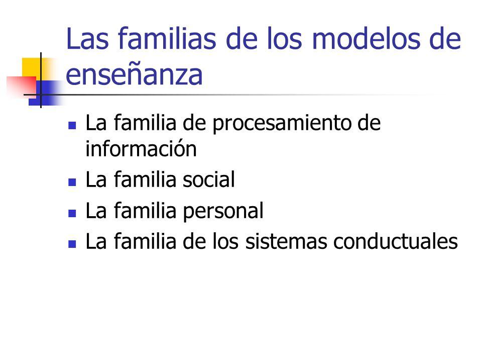 Las familias de los modelos de enseñanza