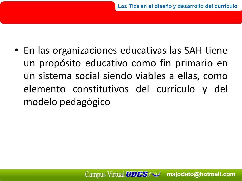 En las organizaciones educativas las SAH tiene un propósito educativo como fin primario en un sistema social siendo viables a ellas, como elemento constitutivos del currículo y del modelo pedagógico